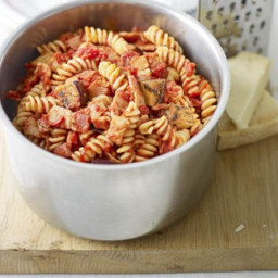 Pasta With Roasted Eggplants, Mint & Sweet Chilli Sauce