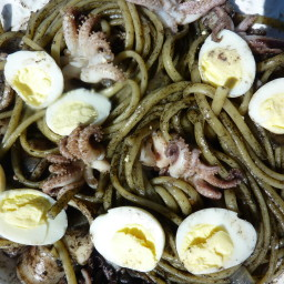 Pasta with black ink squid