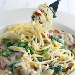 Pasta with Creamy Sun Dried Tomato and Mushroom Sauce.