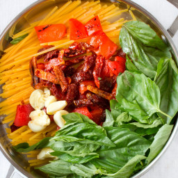 Pasta with Roasted Red Peppers, Sun-Dried Tomatoes and Brie