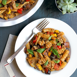 Pasta with Roasted Vegetables and Sun-Dried Tomato Pesto