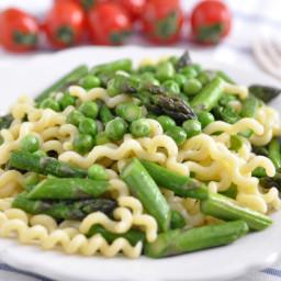 Pasta with Sugar Snap Peas, Asparagus and Parmesan