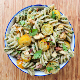 Pasta with Toasted Walnut Parsley Pesto and Tomatoes