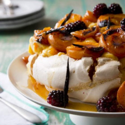 Pavlova with roasted apricots, vanilla, blackberries and lemon curd
