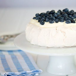 Pavlova with Whipped Cream and Blueberries