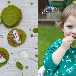 Pea and Spinach Pancakes with Irish Salmon and Mint Yogurt Dip