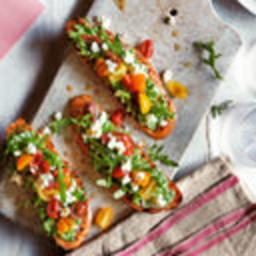 Pea, feta and tomato bruschetta