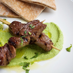 Pea Hummus With Grilled Marinated Lamb