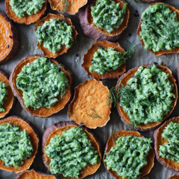 Pea Pesto Sweet Potato Poppers