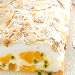 Peach and passionfruit pavlova roll