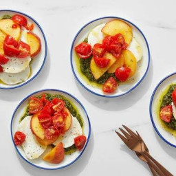 Peach Caprese Salad with Basil Pesto & Pickled Peppers