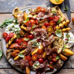 Peach Caprese Salad with Toasted Garlic Naan