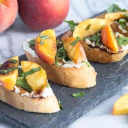 Peach Crostini with Whipped Feta and Honey Balsamic