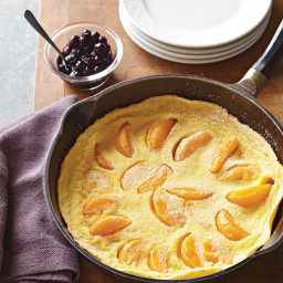 Peach Dutch Baby with Blueberry Compote