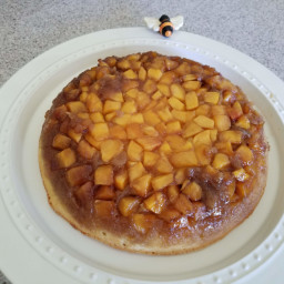 Peach Upside Down Cake in Cast Iron Skillet