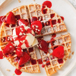 Peanut butter and berry waffles