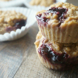Peanut Butter and Jelly Oatmeal Muffins