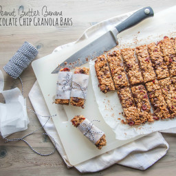 Peanut Butter Banana Chocolate Chip Granola Bars {road trip snacks}