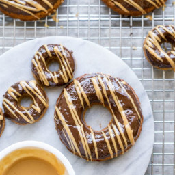 Peanut Butter Banana Donuts with Chocolate Peanut Butter Glaze (GF)
