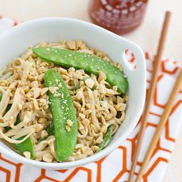 Peanut Udon Noodles with Snow Peas