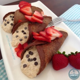 Peanut Butter Overnight Oat Stuffed Chocolate Crepes