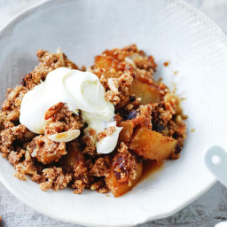 Pear and coconut crumble with double-thick cream