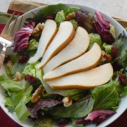 Pear and Toasted Walnut Salad with Cranberry Vinaigrette
