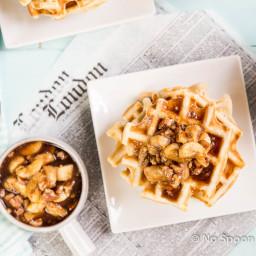 Pecan Belgian Waffles with Caramelized Rum Banana-Pecan Syrup