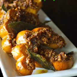 Pecan Crusted Acorn Squash Recipe with Crispy Sage Leaves