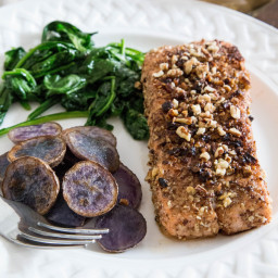Pecan-Crusted Salmon with Sautéed Greens and Potatoes
