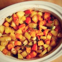 Pečená tekvica so zemiakmi a kozím syrom