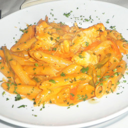 Penne with a Spicy Creamy Tomato Sauce