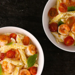 Penne with Garlicky Shrimp, Ricotta, and Tomatoes