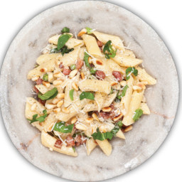 Penne with Pancetta, Peas and Mint