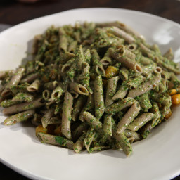 Pepita and Pistachio Sauce with Roasted Squash and Whole Grain Penne