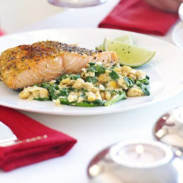 Pepper-crusted salmon with garlic chickpeas