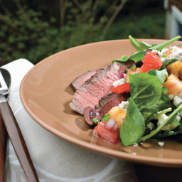 Pepper-Grilled Steak with Chopped Summer Salad
