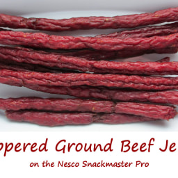 Peppered Ground Beef Jerky on the Nesco Snackmaster Pro