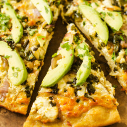 Pepperjack Pizza with Avocado and Poblano Peppers