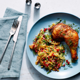 Persian-Spiced Chicken With Spaghetti Squash, Pomegranate, and Pistachios