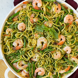 Pesto Pasta with Shrimp and Asparagus