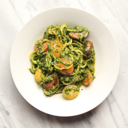 Pesto Spaghetti with Heirloom Grape Tomatoes