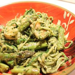 Pesto Zucchini Noodles with Asparagus and Shrimp