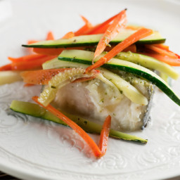 Pesto and Spring Vegetable Halibut in Parchment