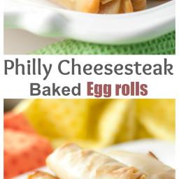 Philly Cheesesteak Baked Egg Rolls
