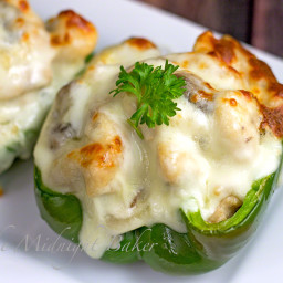 Philly Style Mushroom Asiago Chicken Stuffed Peppers