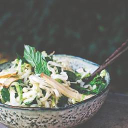 Pho noodle salad with tofu, wombok and broccolini