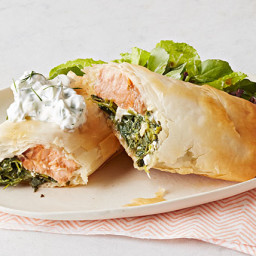 Phyllo-Wrapped Salmon with Spinach and Feta