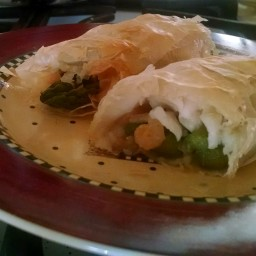 Phyllo-wrapped Halibut with Asparagus and Shrimp