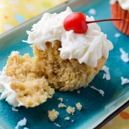 Piña Colada Cupcakes with Coconut Rum Cream Cheese Frosting